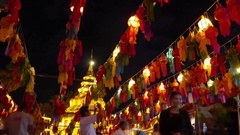 Timelapse of Festival hanging lanterns, Chiang Mai Province, Thailand Stock Footage