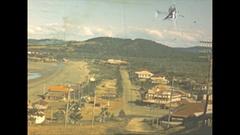 Vintage 16mm film, 1946 Australia town, Yeppon Emu park signs, b-roll Stock Footage