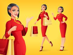 Smiling Chinese woman in different poses. Vector set. Stock Illustration