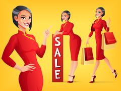 Beautiful Chinese woman in various poses. Vector set. Stock Illustration