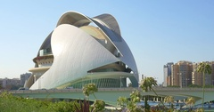 Calatrava City Of Arts And Sciences In Downtown City Of Valencia Stock Footage