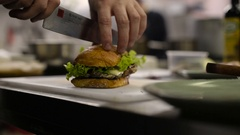 Chef making a sandwich Stock Footage