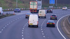 CARS LORRIES MOTORWAY M62 JUNCTION 26 YORKSHIRE Stock Footage