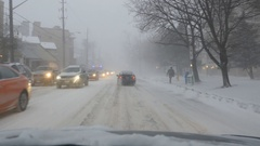 Driving in a blizzard on Broadview Avenue, Toronto, Ontario, Canada. Stock Footage