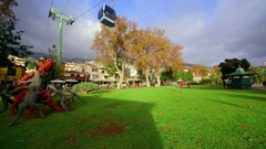 CABLE CAR AUTUMN TREES FUNCHAL MADEIRA Stock Footage