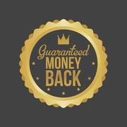 Vector Money Back Guarantee Gold Sign, Label Stock Illustration
