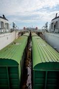 Train on the cargo vessel Stock Photos