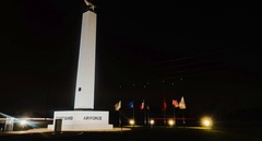 U.S. Coast Guard and Air Force monument timelapse Stock Footage