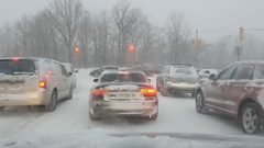 Snowstorm intersection at Millwood Rd, Toronto, Ontario, Canada. Stock Footage