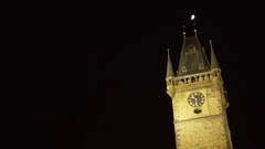Church of Mother of God before Tyn at night under moon, Prague, Czech R. Stock Footage