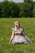 Expectant mother in the Park Stock Photos