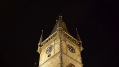 Church of Mother of God before Tyn at night clocktower, Prague, Czech R. Stock Footage