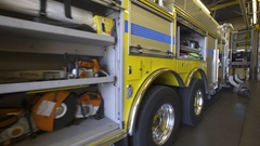 Fire Engine equipted and ready for rescue Stock Footage