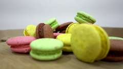 Set Of Multicolored French Macaron on Table Stock Footage
