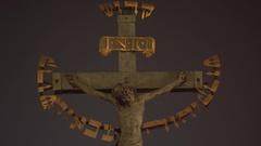 Holy Crucifix and Calvary statue, Hebrew text, Charles Bridge, Prague Stock Footage