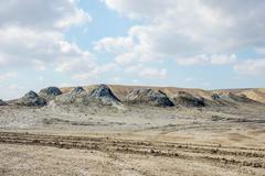 Mud volcanoes in Gobustan, Azerbaijan Stock Photos