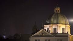 Church of Saint Francis dome at night, long shot, Prague, Czech Republic Stock Footage
