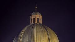 Church of Saint Francis dome at night, medium shot, Prague, Czech Republic Stock Footage