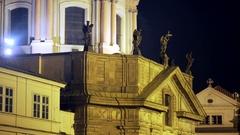 Statues on Church of Saint Francis at night, Prague, Czech Republic Stock Footage