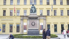 Josef Jungman statue at Austrian Cultural Forum, Prague, Czech Republic Stock Footage