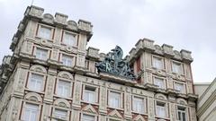 Statue on Adria Palace building, Palac Adria, Prague, Czech Republic Stock Footage