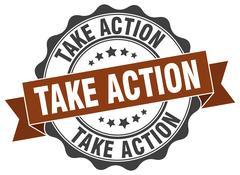 Take action stamp. sign. seal Stock Illustration