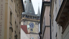 Tourists on astronomical clock tower view point, Prague, Czech Republic Stock Footage