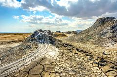 Mud volcano crater, Gobustan, Azerbaijan Stock Photos