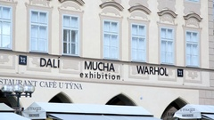 Dali Mucha Warhol gallery exhibition, Prague, Czech Republic Stock Footage