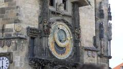 Prague astronomical clock moves, Czech R. Stock Footage