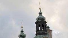 Golden crosses on green church domes, Prague, Czech Republic Stock Footage