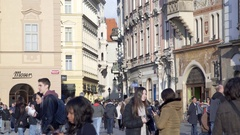 Busy old town square, crowd of people tourists walk, Prague, Czech Republic Stock Footage