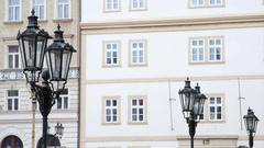 Old historical streetlight lamps, Prague, Czech Republic Stock Footage