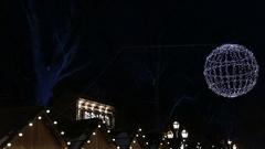 CHRISTMAS SPHERE MADE OF LIGHT BULBS CHRISTMAS BACKGROUND Stock Footage
