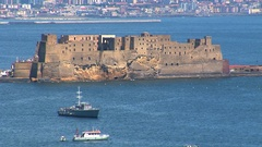 Bay of Naples, close up view of Castel dell'Ovo Stock Footage