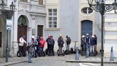 Group of tourists on Segway tour, Prague, Czech Republic Stock Footage