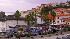 FISHING BOATS ON QUAY SIDE CAMARA DE LOBOS MADEIRA Stock Footage