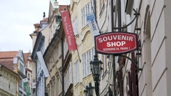 Souvenir shop sign, Prague, Czech Republic Stock Footage