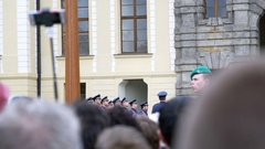 Soldiers at changing the Royal Guard ceremony, Prague, Czech Republic Stock Footage