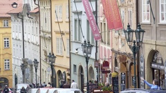 Row of colorful buildings, Prague, Czech Republic Stock Footage