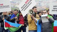 Azerbaijan people protest against occupation, flags, speakers Prague Stock Footage