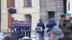 March with rifles, changing the Royal Guard ceremony, Prague, Czech Republic Stock Footage