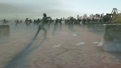 Horror zombie crowd walking. Apocalypse view, concept. Realistic 4K animation. Stock Footage