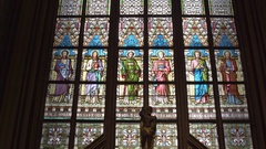 Beautiful detailed stained glass art, Saint Vitus Cathedral, Prague Castle Stock Footage