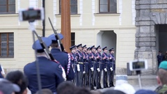 Guards march at Changing the Royal Guard ceremony, Prague, Czech Republic Stock Footage