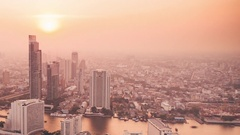 Day to Night Time Lapse in Bangkok Thailand Stock Footage