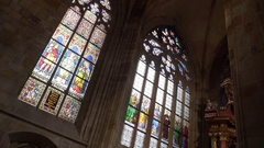 Stained glass art, Saint Vitus Cathedral, Prague Castle, Czech Republic Stock Footage
