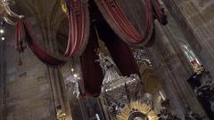 Silver statue at Saint Vitus Cathedral, Prague Castle, Czech Republic Stock Footage