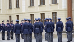 Soldiers march at changing the Royal Guard ceremony, Prague, Czech Republic Stock Footage