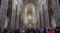 High ceilings at Saint Vitus Cathedral, many tourists, Prague, Czech Republic Stock Footage